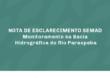 NOTA DE ESCLARECIMENTO SEMAD – Monitoramento na Bacia Hidrográfica do Rio Paraopeba