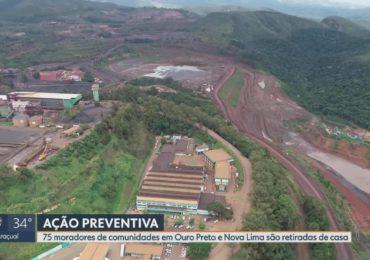 125 vizinhos de barragens da Vale de Nova Lima e de Ouro Preto também serão retirados de suas casas