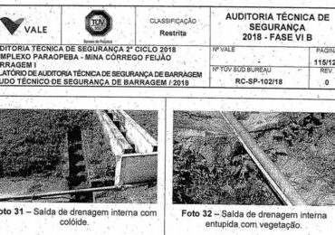 Laudo aponta problemas no sistema de drenagem na barragem da Vale em Brumadinho