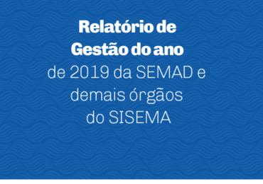 Relatório de Gestão do ano de 2019 da SEMAD e demais órgãos do SISEMA