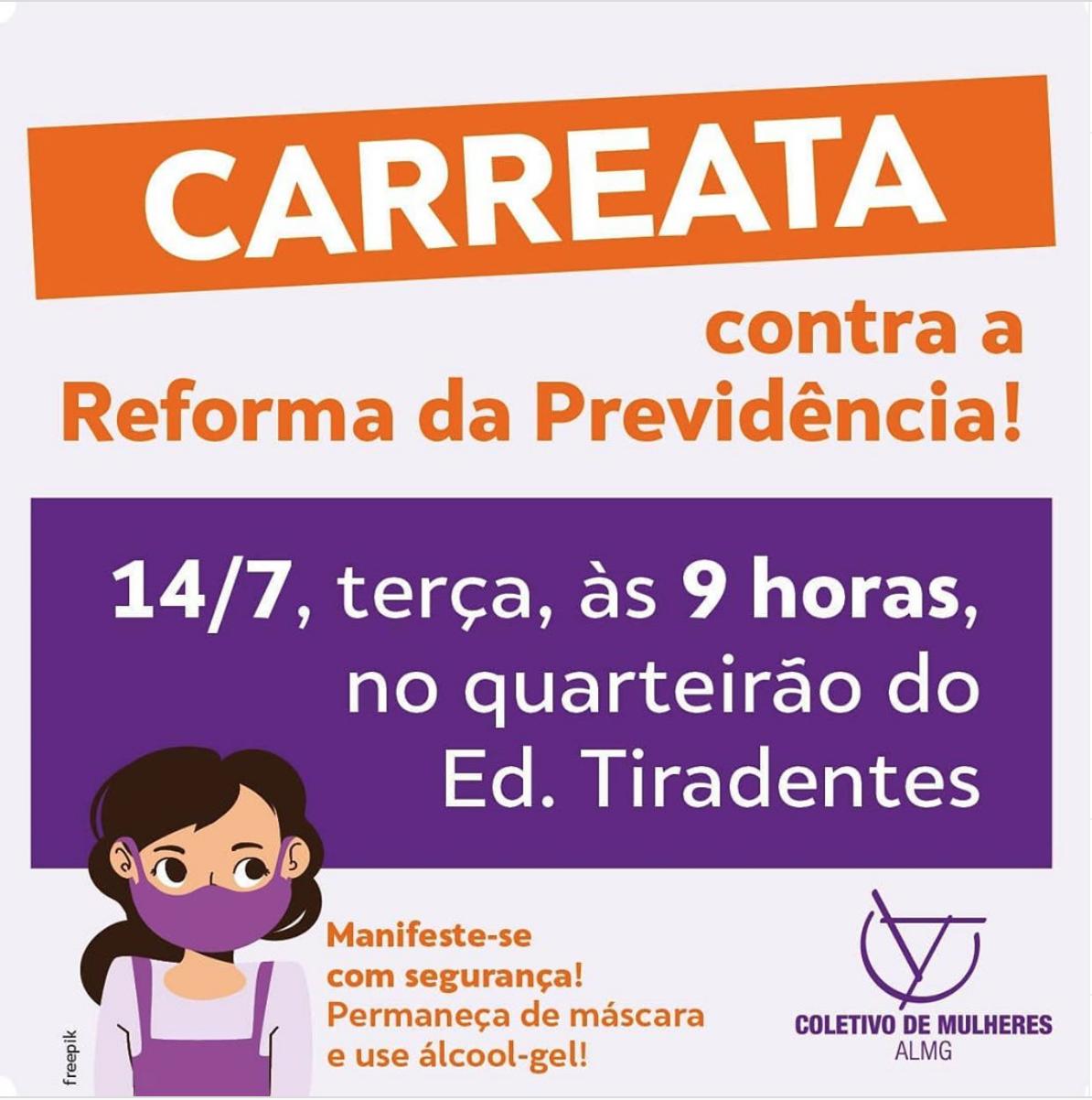 14 de julho: carreata contra a Reforma da Previdência!