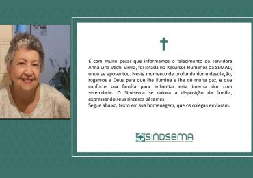 Nota de Falecimento - Anna Lina Vechi Vieira